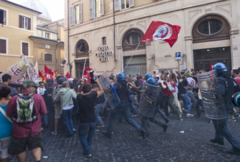 Rome-clashes-austerity