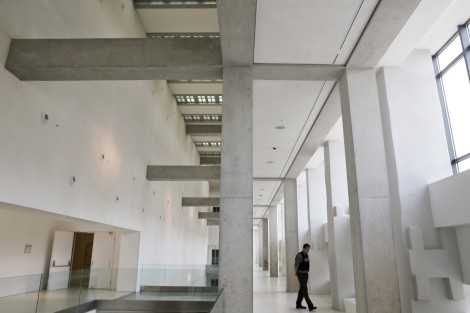 Security guard walks inside the National Museum of Contemporary Art in Athens